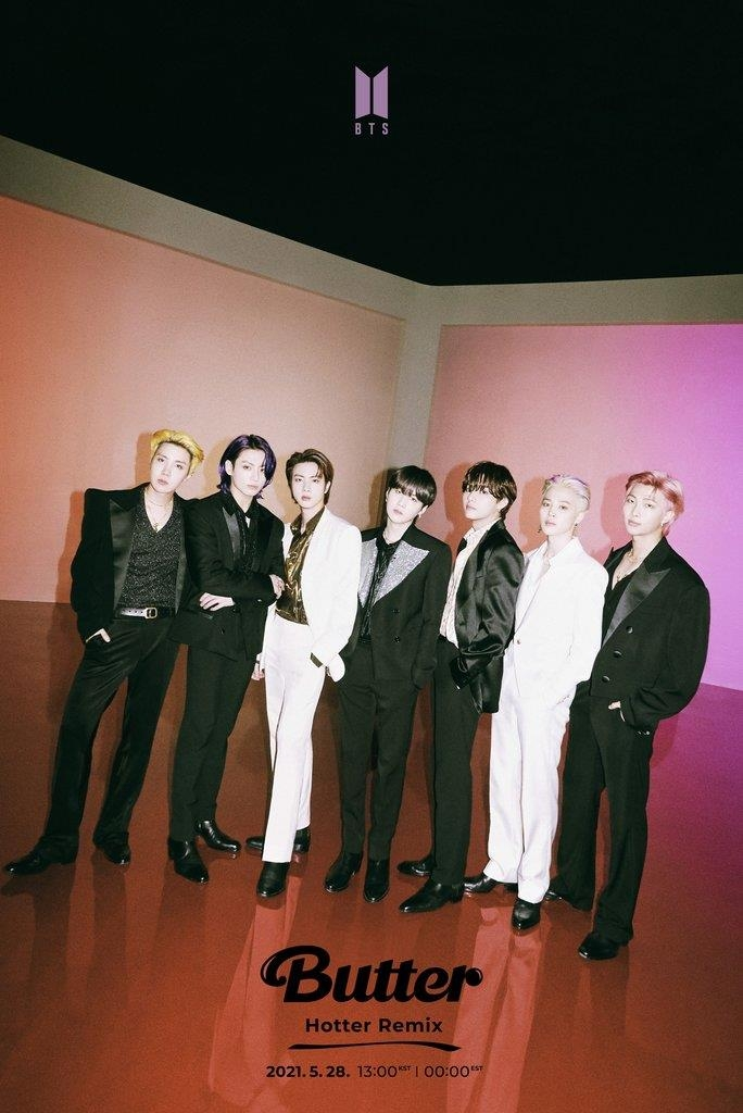 """This photo, provided by Big Hit Music, shows a promotional image for the """"Hotter"""" remix version of the BTS song """"Butter."""" (PHOTO NOT FOR SALE) (Yonhap)"""