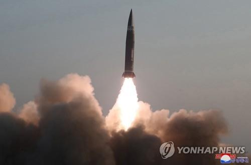 A new type of a tactical guided missile is launched from the North Korean town of Hamju, South Hamgyong Province, on March 25, 2021, in this photo released by the North's official Korean Central News Agency. South Korea's military said the previous day that the North fired what appeared to be two short-range ballistic missiles into the East Sea. (For Use Only in the Republic of Korea. No Redistribution) (Yonhap)