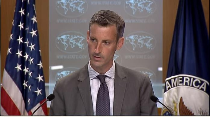 Ned Price, spokesman for the U.S. Department of State, is seen answering questions at a press briefing at the department in Washington on July 8, 2021, in this image captured from the website of the State Department. (PHOTO NOT FOR SALE) (Yonhap)
