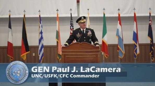 United Nations Command Commander Gen. Paul LaCamera speaks during an event to mark the 68th anniversary of the 1950-53 Korean War armistice agreement at Camp Humphreys in Pyeongtaek, 70 kilometers south of Seoul, on July 27, 2021, in this image captured from the video of the ceremony livestreamed on American Forces Network Pacific's Twitter account. (PHOTO NOT FOR SALE) (Yonhap)