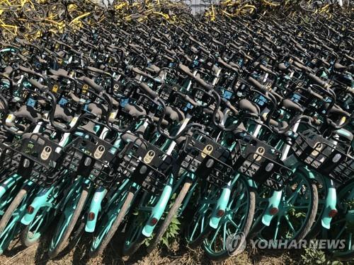 중국에서 방치된 공유자전거 모습