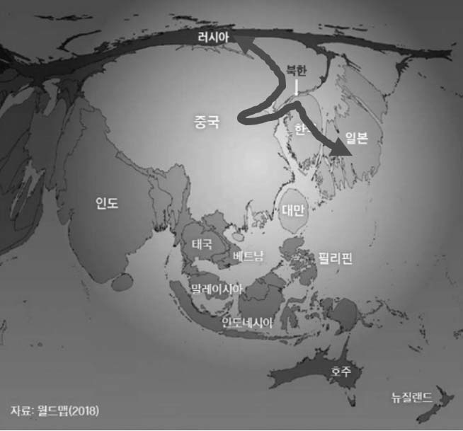 동아시아 지역의 GDP 규모와 러-중-한-일의 왜곡된 물류 이동 현황