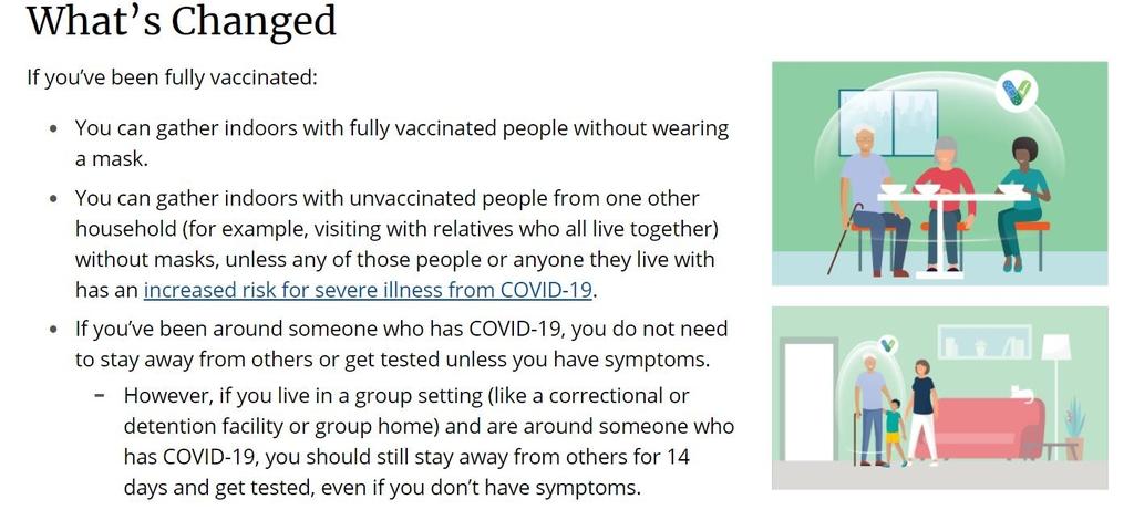 미국 CDC의 새 코로나19 방역지침