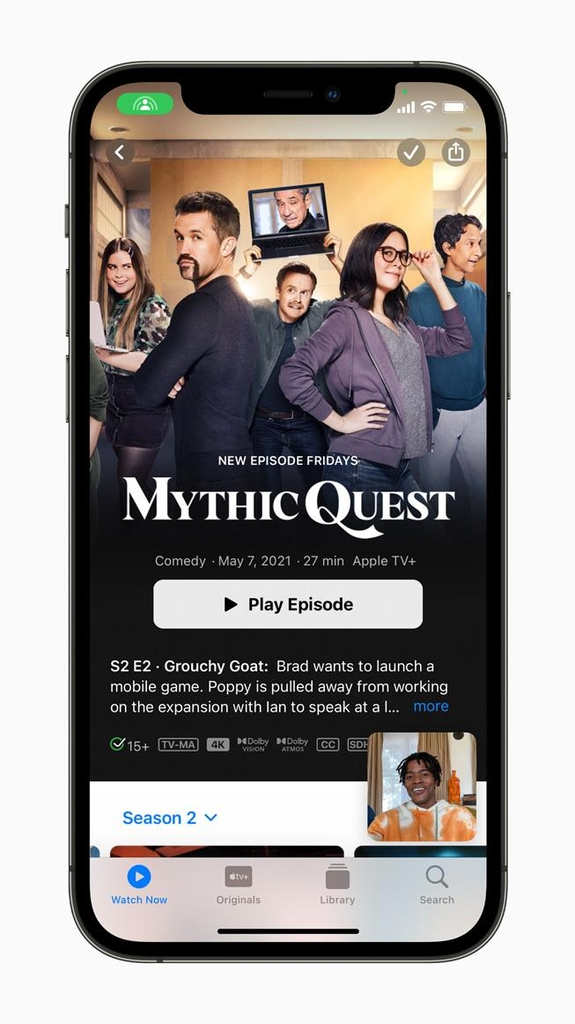 아이폰 이용자들은 페이스타임에서 '셰어플레이'를 통해 친구나 가족과 영상 통화를 하다가 영화·음악을 함께 보고 들을 수 있게 된다. [애플 제공=연합뉴스]