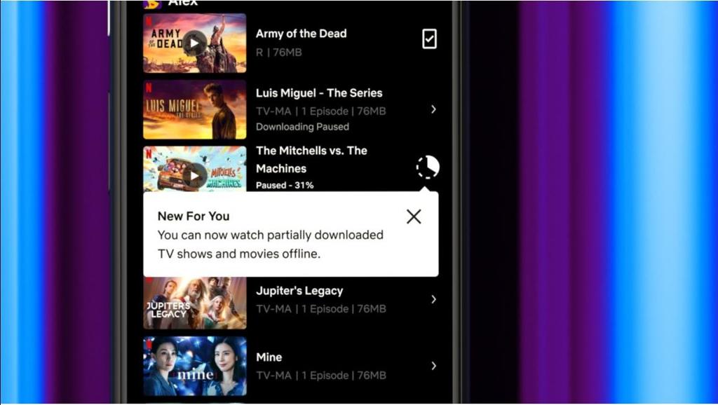 넷플릭스, 콘텐츠 부분 다운로드 기능 제공