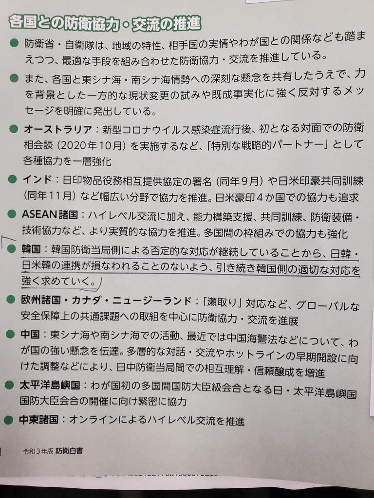 2021년 일본 방위백서 한국 관련 기술
