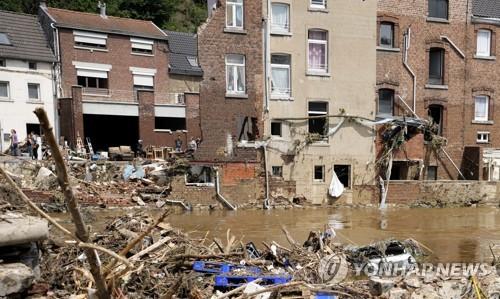 지난달 벨기에 홍수 피해 사진.