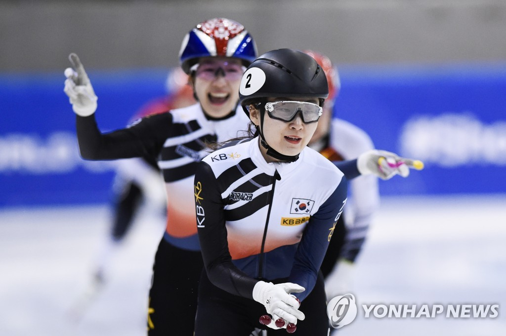 In this Associated Press file photo from Feb. 8, 2020, Choi Min-jeong of South Korea celebrates after winning the women's 1,500-meter final at the International Skating Union (ISU) Short Track Speed Skating World Cup in Dresden, Germany. (Yonhap)