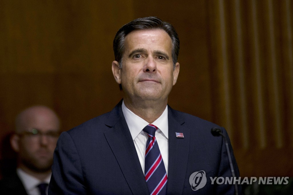 This pool photo published by the Associated Press shows Rep. John Ratcliffe (R-TX) at a hearing before the Senate Select Committee on Intelligence for his nomination as U.S. director of national intelligence, on Capitol Hill in Washington, on May 5, 2020. (Yonhap)