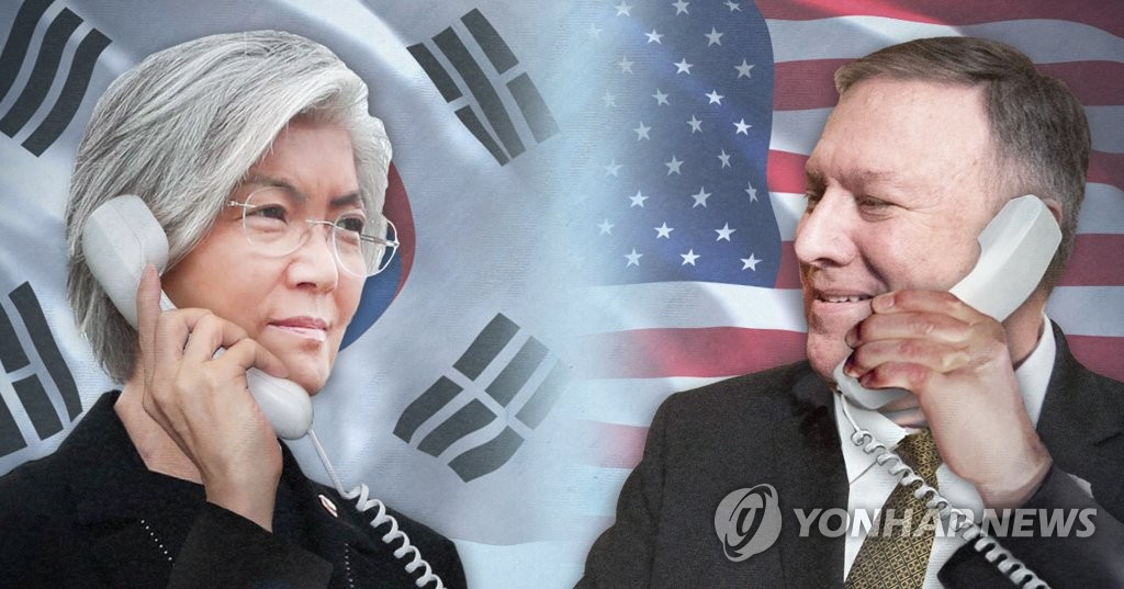 A combined image of Foreign Minister Kang Kyung-wha and Secretary of State Mike Pompeo. (Yonhap)