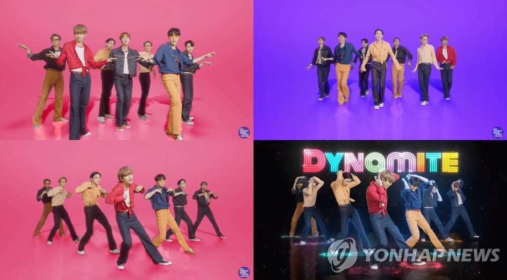 Image fournie par Big Hit Entertainment le 29 septembre 2020 montrant le groupe K-pop BTS interprétant «Dynamite» pour la «BTS Week» de l'émission The Tonight Show Starring Jimmy Fallon sur NBC aux Etats-Unis. (Archivage et revente interdits)