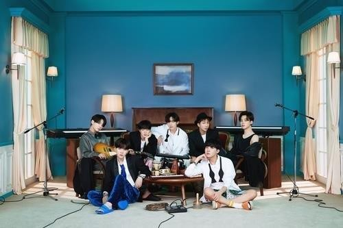 This photo, provided by Big Hit Music, shows K-pop superstar BTS. (PHOTO NOT FOR SALE) (Yonhap)