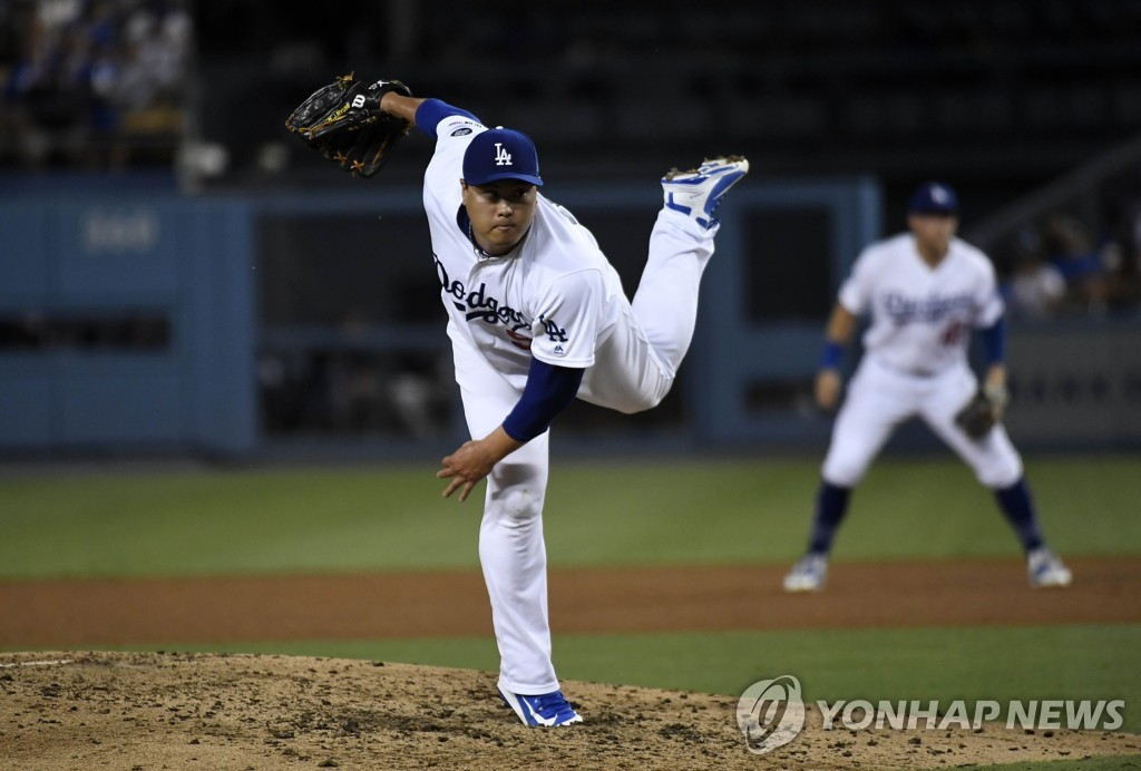 In this Getty Images file photo from Sept. 4, 2019, Ryu Hyun-jin of the Los Angeles Dodgers throws a pitch against the Colorado Rockies in the top of the fourth inning of a Major League Baseball regular season game at Dodger Stadium in Los Angeles. (Yonhap)