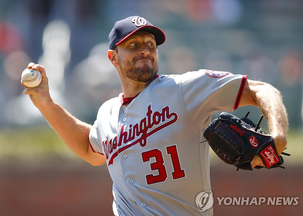 In this Getty Images photo, Max Scherzer of the Washington Nationals throws a pitch against the Atlanta Braves in the bottom of the first inning of a Major League Baseball regular season game at SunTrust Park in Atlanta on Sept. 8, 2019. (Yonhap)