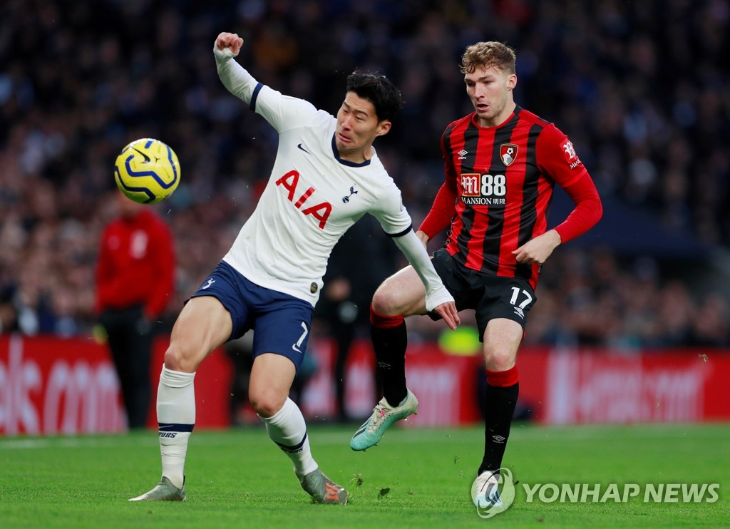 In this Reuters photo, Son Heung-min of Tottenham Hotspur (L) battles Jack Stacey of Bournemouth for the ball during the teams' Premier League match at Tottenham Hotspur Stadium in London on Nov. 30, 2019. (Yonhap)