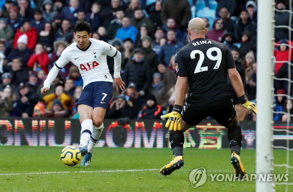 In this Reuters file photo from Feb. 16, 2020, Son Heung-min of Tottenham Hotspur (L) scores past Aston Villa's Pepe Reina in a Premier League match at Villa Park in Birmingham, England. (Yonhap)
