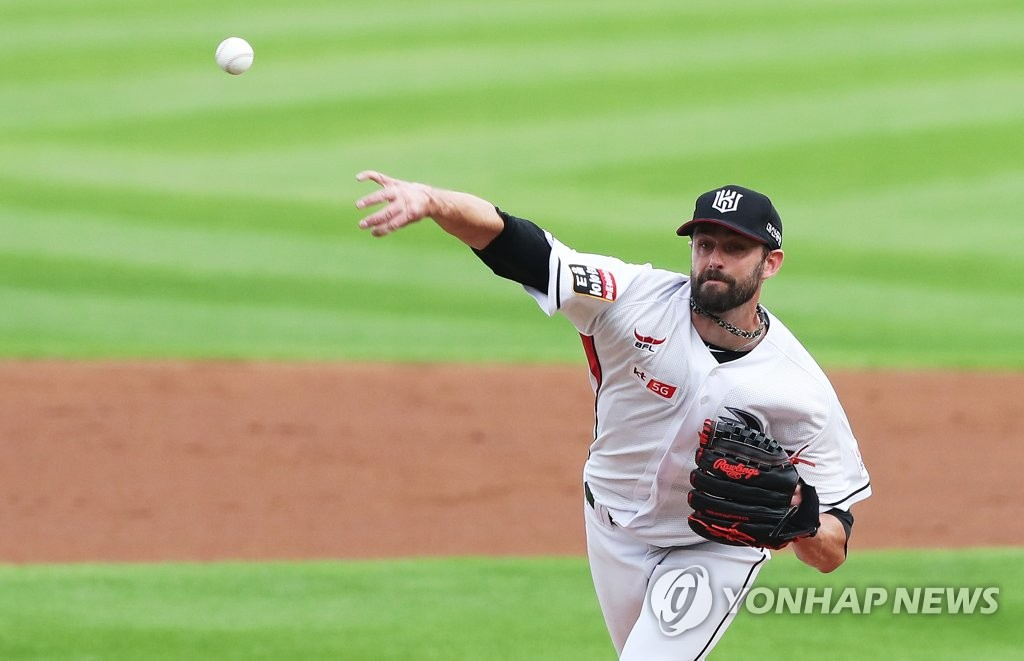 In this file photo from July 11, 2018, Dustin Nippert, then with the KT Wiz, throws a pitch against the Doosan Bears in the top of the first inning a Korea Baseball Organization regular season game at KT Wiz Park in Suwon, 45 kilometers south of Seoul. (Yonhap)