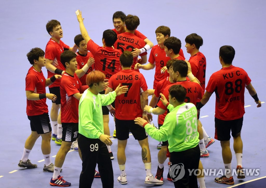 This file photo taken Aug. 31, 2018, shows South Korea men's national handball team at the 18th Asian Games in Jakarta. (Yonhap)