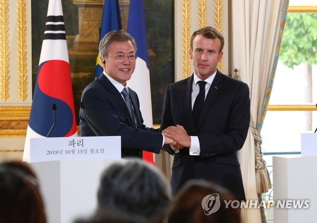 (4th LD) Moon says France, U.N. can speed up N. Korea's denuclearization by easing sanctions