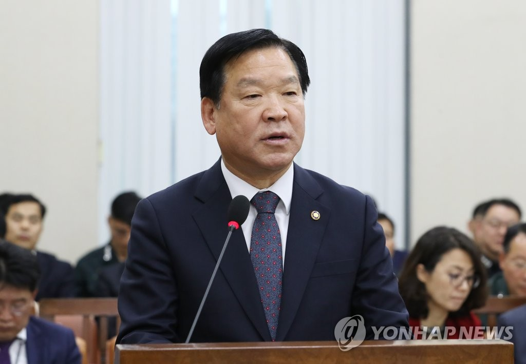 This photo, taken on Nov. 8, 2018, shows Ki Chan-soo, the chief of the Military Manpower Administration, speaking during a parliamentary session at the National Assembly in Seoul. (Yonhap)