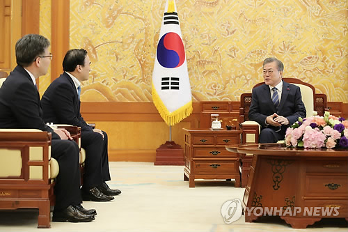 President Moon welcomes new S. Korean head of Interpol
