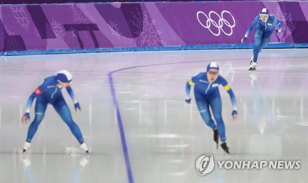 평창올림픽 여자 팀추월 경기 장면
