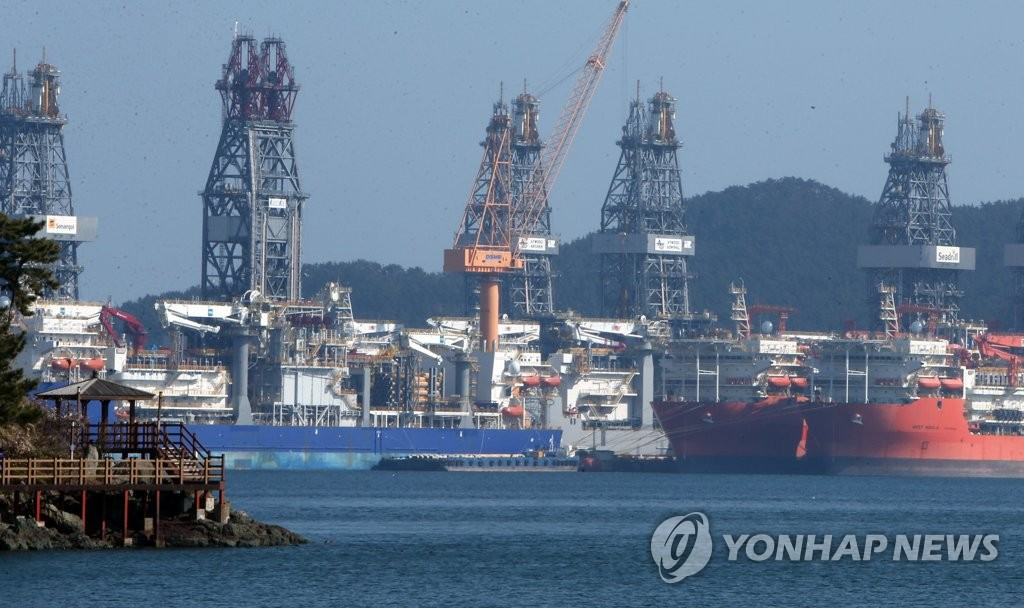 This file photo taken on Feb. 12, 2019, shows Daewoo Shipbuilding & Marine Engineering Co.'s Okpo shipyard in Geoje, South Korea. (Yonhap)