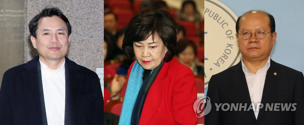 These images, from left to right, show Reps. Kim Jin-tae, Kim Soon-rye and Lee Jong-myeong of the main opposition Liberty Korea Party. (Yonhap)