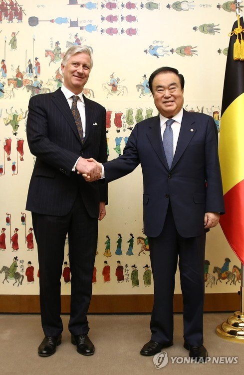Belgian king meets with S. Korean parliamentary leader