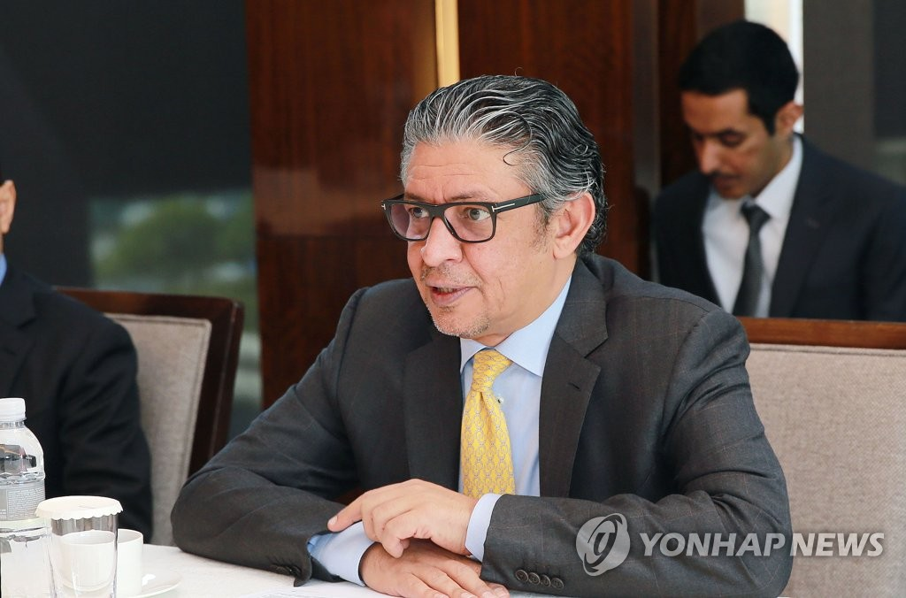 Mohammad Al-Tuwaijri, the Saudi Arabian minister of economy and planning, speaks during a meeting with senior South Korean officials in Seoul on April 3, 2019. (Yonhap)