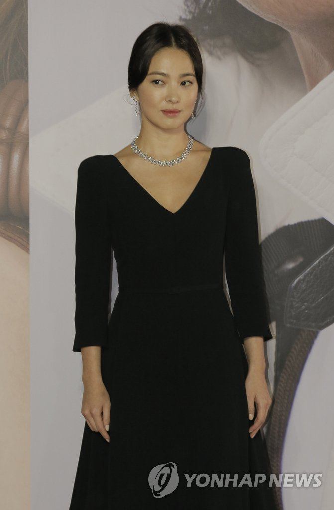 In this photo provided by the Associated Press on April 14, 2019, actress Song Hye-kyo poses at the Hong Kong Film Awards at the Hong Kong Cultural Center. (Yonhap)