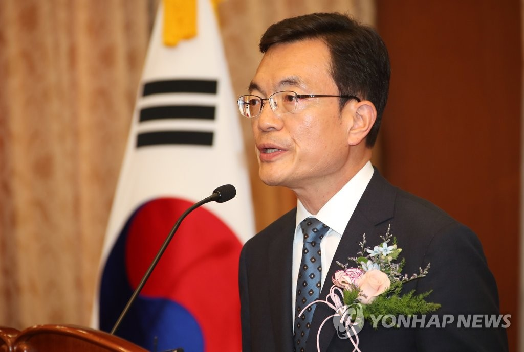This photo, taken on May 24, 2019, shows Vice Foreign Minister Cho Sei-young speaking during his inauguration ceremony at the foreign ministry in Seoul. (Yonhap)