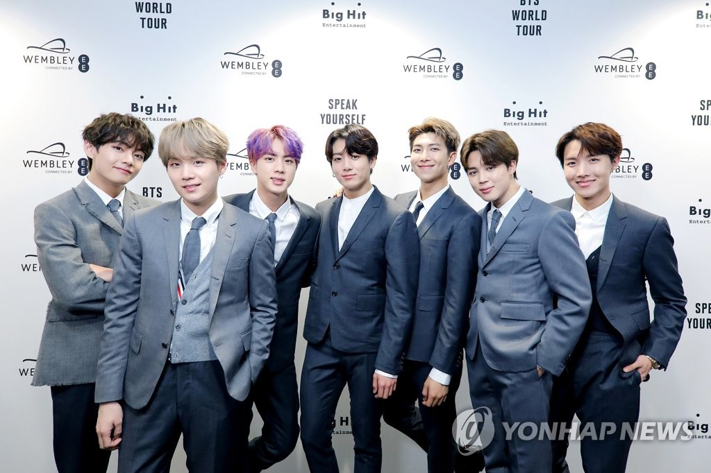 This photo of BTS is provided by Big Hit Entertainment. (PHOTO NOT FOR SALE) (Yonhap)