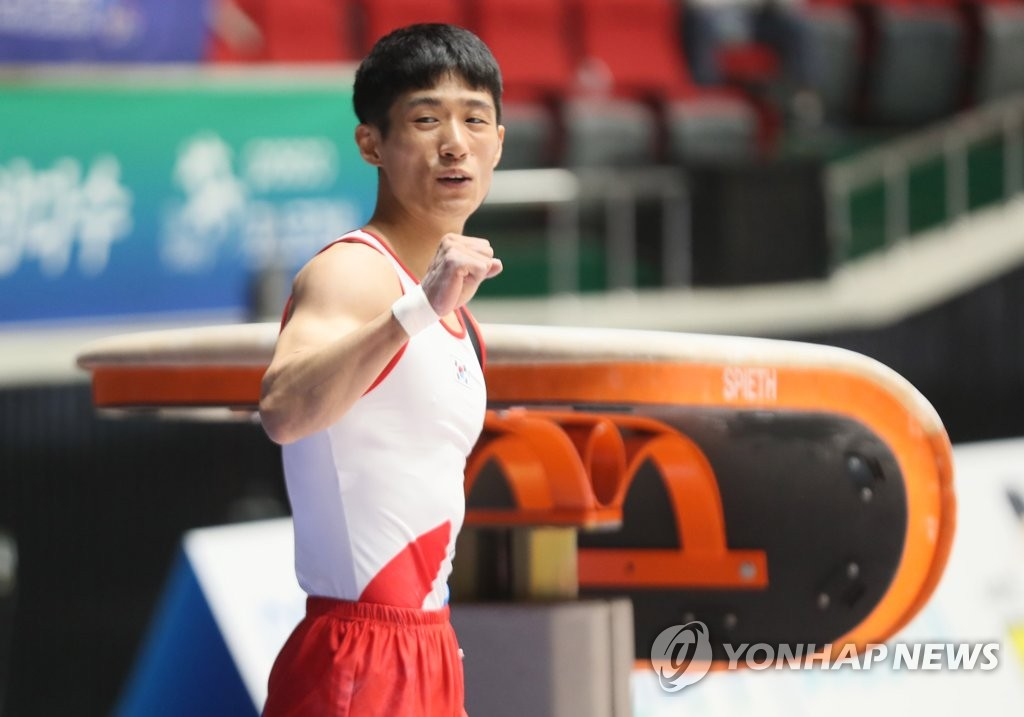 In this file photo from June 19, 2019, South Korean gymnast Yang Hak-seon reacts after completing his routine in the men's vault at the Korea Cup at Halla Gymnasium in Jeju, Jeju Island. (Yonhap)