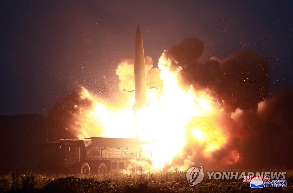 This photo, released by the Korean Central News Agency on Aug. 7, 2019, shows a missile being fired the previous day. (For Use Only in the Republic of Korea. No Redistribution) (Yonhap)