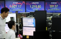 (LEAD) Seoul stocks down on economic slowdown woes, Korean won advances