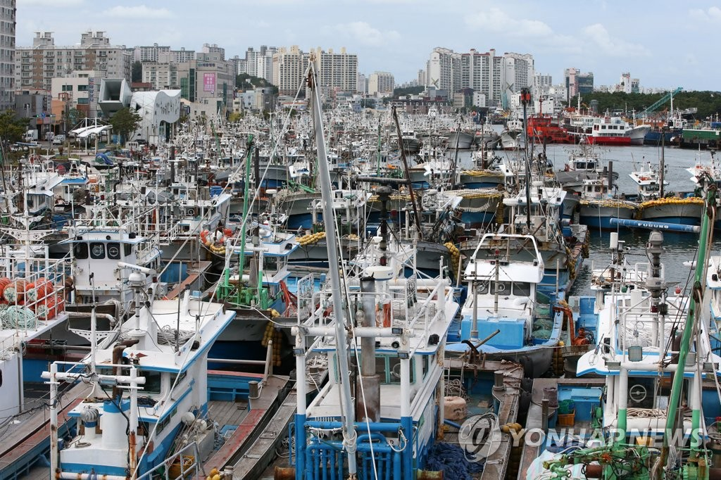 Fishing boats are moored at a port in South Korea's southeastern city of Pohang on Sept. 20, 2019, as Typhoon Tapah is forecast to affect the southern parts of the country over the weekend. (Yonhap)