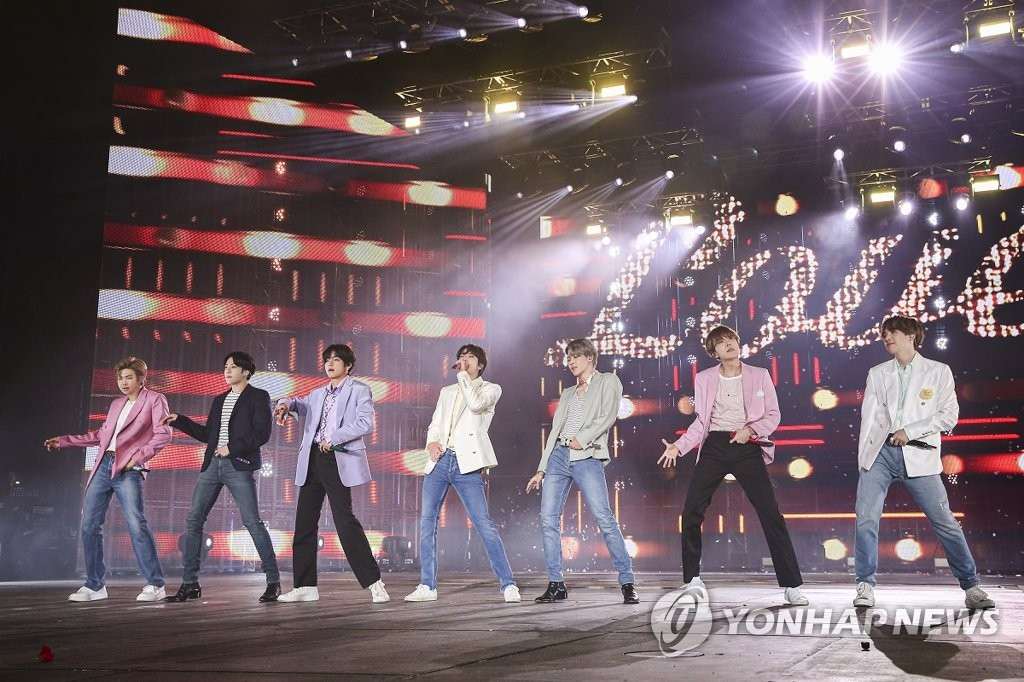 This file photo, released on Oct. 29, 2019, by Big Hit Entertainment, shows K-pop stars BTS performing during the final concert of its world tour, Love Yourself: Speak Yourself, in Seoul. The Seoul shows were held on Oct. 26-27 and Oct. 29. (PHOTO NOT FOR SALE) (Yonhap)
