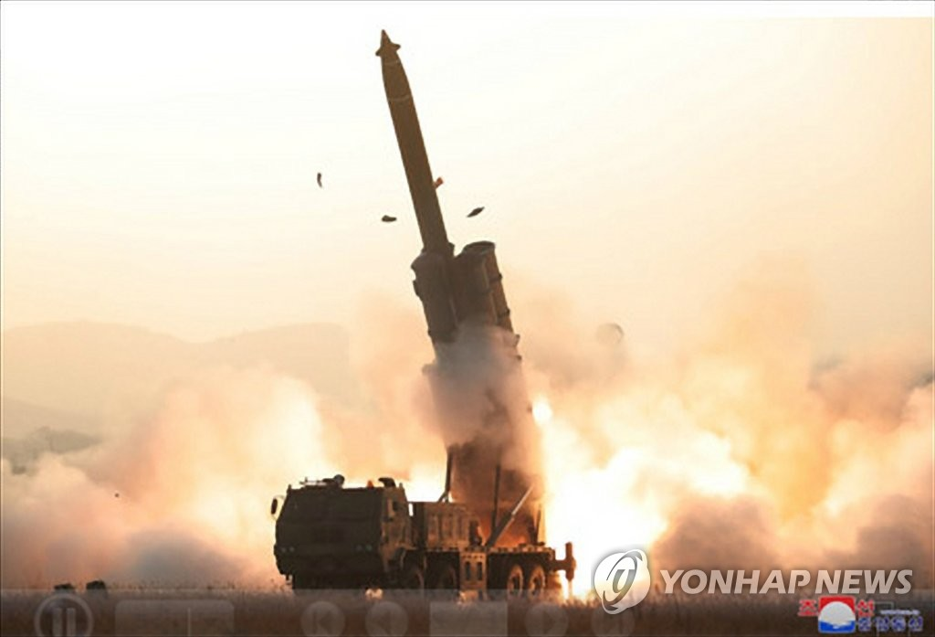 "North Korea fires a ""super-large"" multiple rocket launcher in a photo released by the Korean Central News Agency on Nov. 1, 2019. (For Use Only in the Republic of Korea. No Redistribution) (Yonhap)"