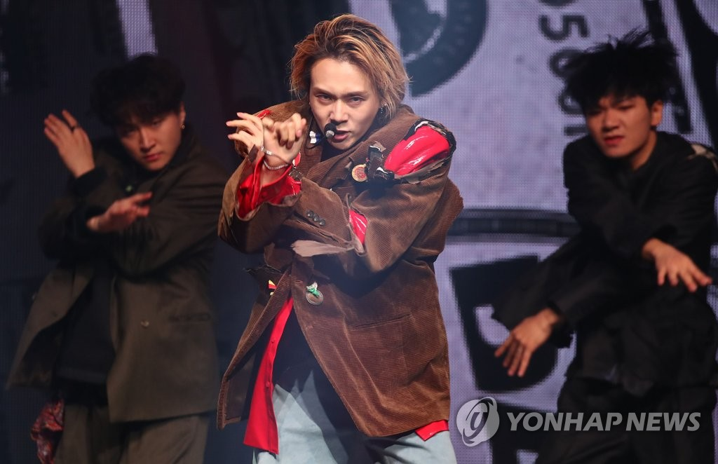 "K-pop singer Dawn showcases his solo debut single ""Money"" at Blue Square iMarket Hall in central Seoul on Nov. 5, 2019. (Yonhap)"