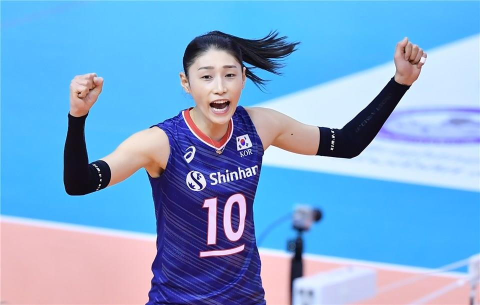 In this photo provided by FIVB on Jan. 8, 2020, Kim Yeon-koung of South Korea celebrates a point against Iran in their Pool B match of the Asian Olympic women's volleyball qualification tournament at Korat Chatchai Hall in Nakhon Ratchasima, Thailand. (PHOTO NOT FOR SALE) (Yonhap)