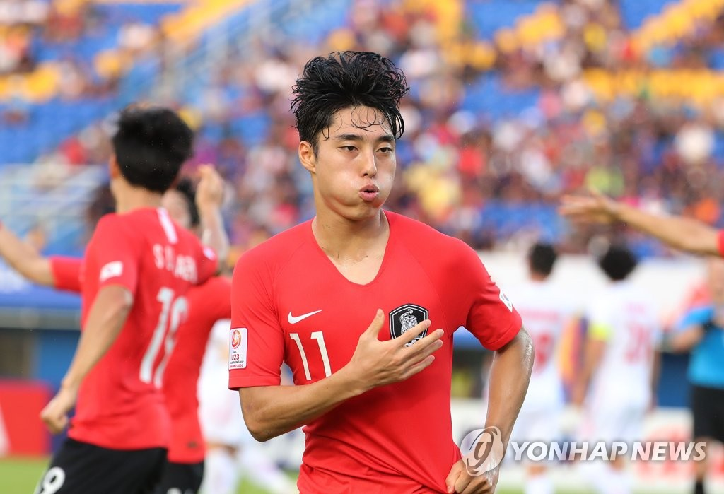 Lee Dong-jun of South Korea celebrates his goal against Iran during the teams' Group C match at the Asian Football Confederation U-23 Championship at Tinsulanon Stadium in Songkhla, Thailand, on Jan. 12, 2020. (Yonhap)