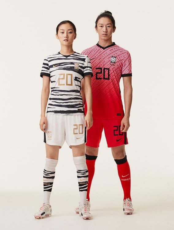 This photo provided by Nike on Feb. 6, 2020, shows new home (R) and away kits for the South Korean national football teams. (PHOTO NOT FOR SALE) (Yonhap)