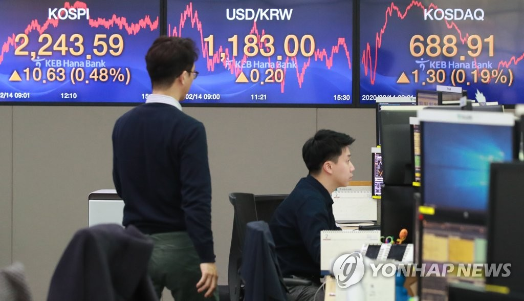 This photo taken Feb. 14, 2020, shows the trading room at a KEB Hana Bank branch in Seoul. (Yonhap)
