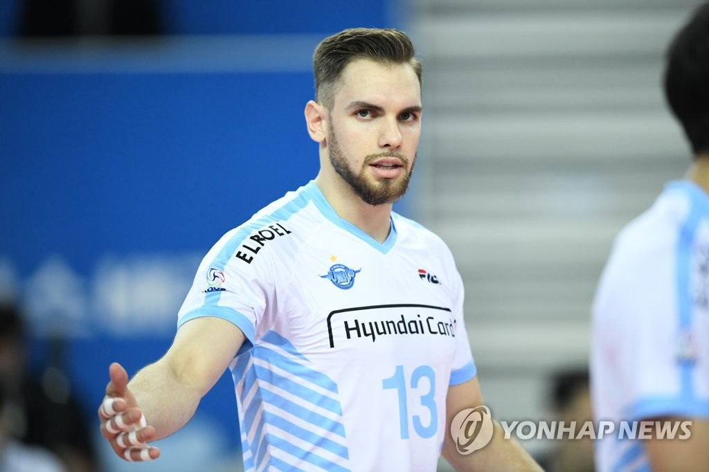 This file photo, provided by the Korean Volleyball Federation on Feb. 24, 2020, shows the Korean Air Jumbos attacker Andres Villena. (PHOTO NOT FOR SALE) (Yonhap)