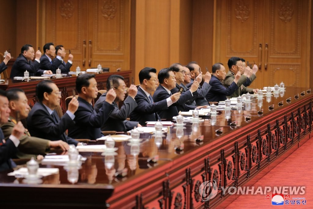 North Korea's Supreme People's Assembly holds a meeting at the Mansudae Assembly Hall in Pyongyang on April 12, 2020, in this photo released by the Korean Central News Agency. North Korean leader Kim Jong-un did not attend the meeting, which dealt with budgetary issues and the election of new members of the powerful State Affairs Commission led by Kim. (For Use Only in the Republic of Korea. No Redistribution) (Yonhap)