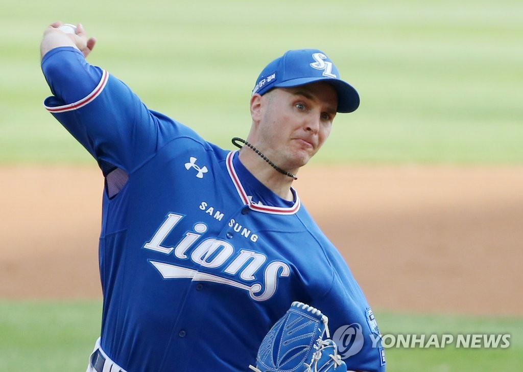 In this file photo from June 7, 2020, David Buchanan of the Samsung Lions pitches against the SK Wyverns in a Korea Baseball Organization regular season game at SK Happy Dream Park in Incheon, 40 kilometers west of Seoul. (Yonhap)