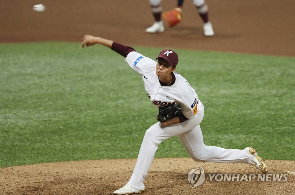 In this file photo from July 1, 2020, An Woo-jin of the Kiwoom Heroes pitches against the Doosan Bears in the teams' Korea Baseball Organization regular season game at Gocheok Sky Dome in Seoul. (Yonhap)