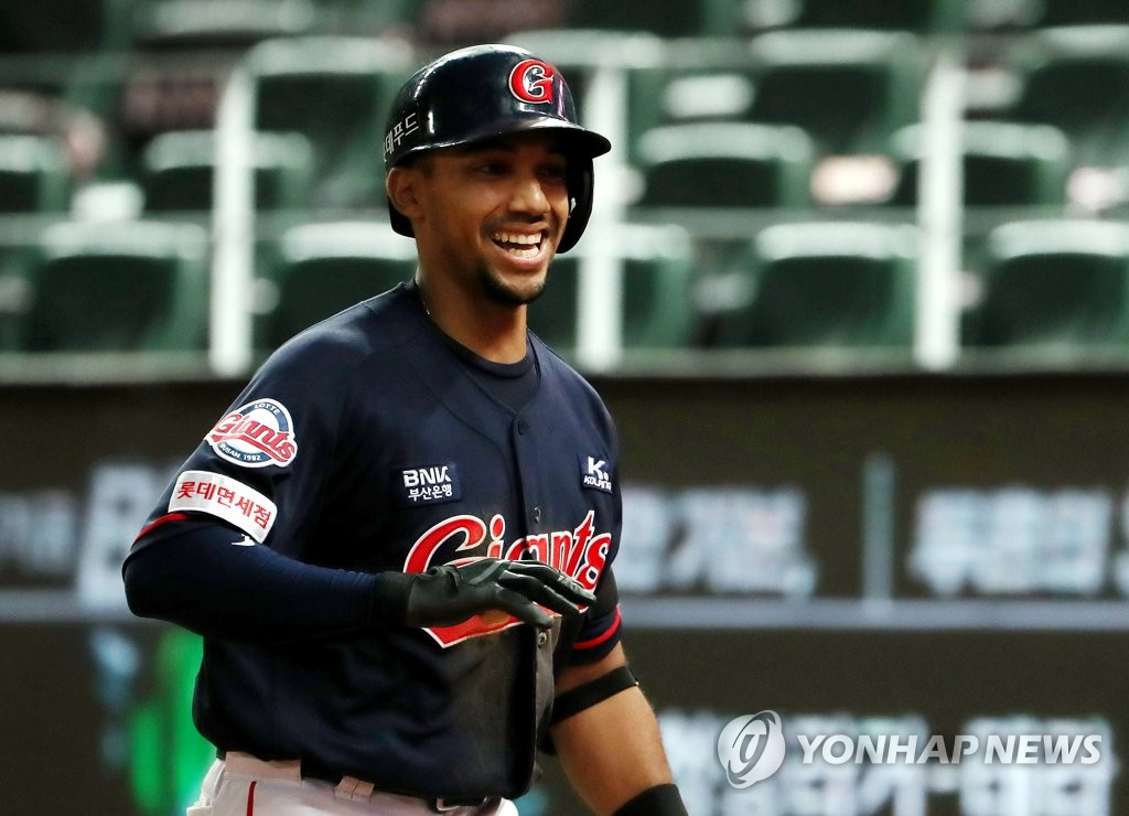 In this file photo from Aug. 6, 2020, Dixon Machado of the Lotte Giants smiles after hitting a home run against the SK Wyverns during a Korea Baseball Organization regular season game at SK Happy Dream Park in Incheon, 40 kilometers west of Seoul. (Yonhap)