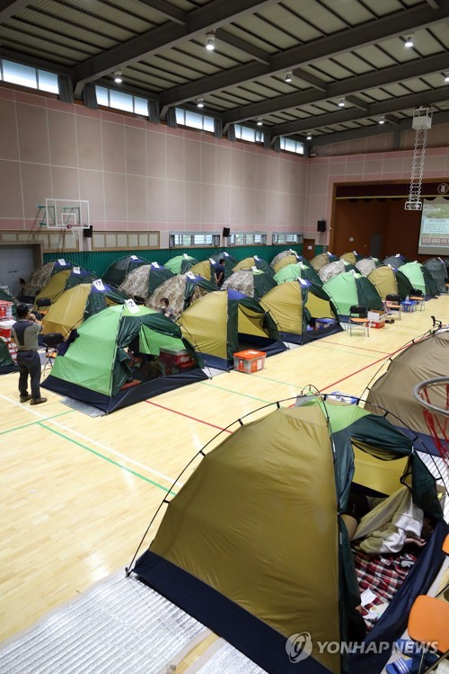 Temporary shelter for flood-affected residents